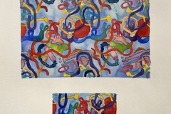 A repeating pattern of colorful chunky tube-like forms.