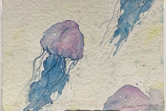 A watery jellyfish swims across the composition.