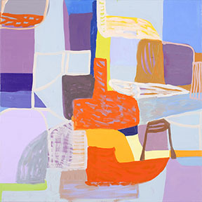 An abstract painting with various shapes and colors intersecting each other