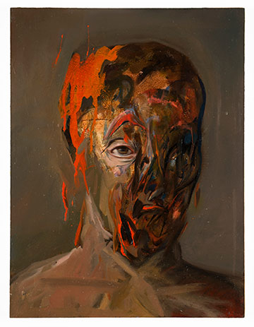 Intense painting of seemingly melting face with one regular eye showing below