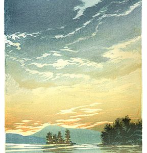 Painting of a lake with trees and mountains in the distance with the sun setting
