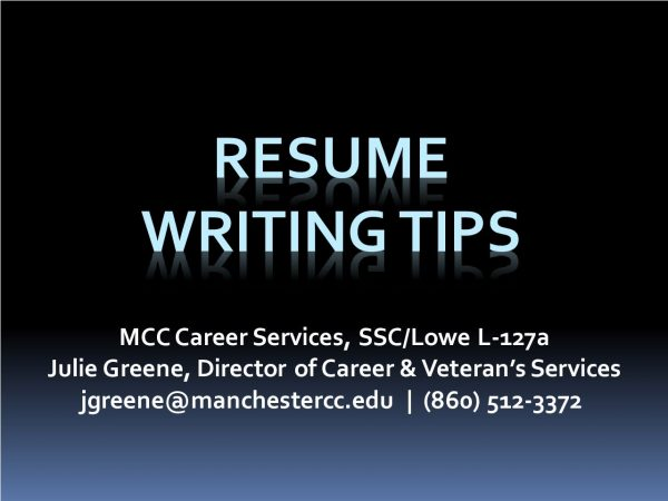 Resumes Writing Tips 2020 Manchester Community College