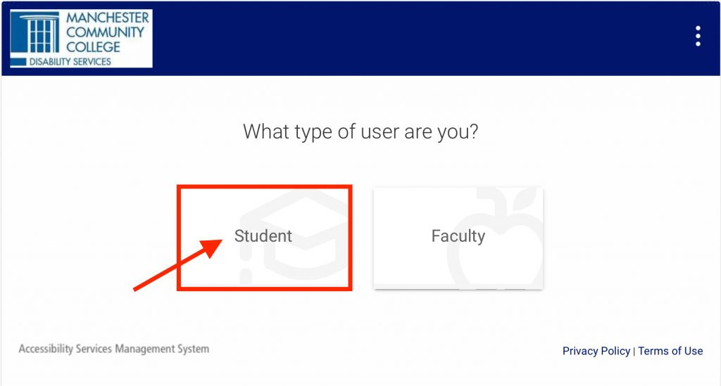 """Screenshot of the Symplicity introduction page. A heading asks """"What type of user are you?"""" is followed by a Student button and Faculty button."""