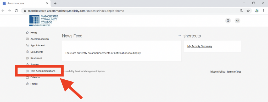 Screenshot showing Student Accommodate portal with Test Accommodations in the left navigation surrounded by a red border and an arrow pointing at it