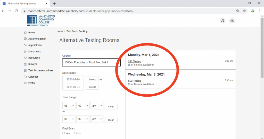 Screenshot of Accommodate portal with Alternative Testing Rooms heading and Course select box below it. An option is chosen and additional options have appeared.