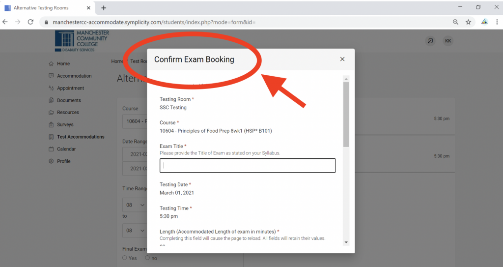 Screenshot of Accommodate portal with Confirm Exam Booking modal in focus.