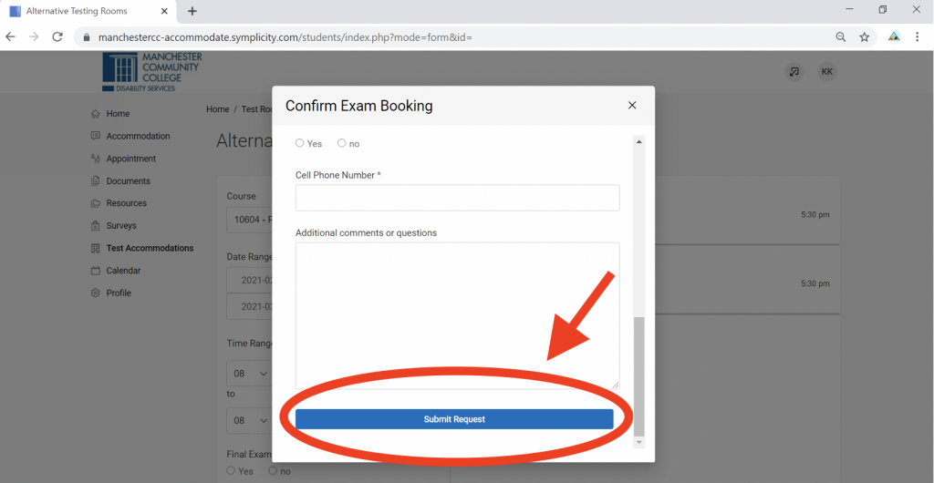 Screenshot of Accommodate portal with Confirm Exam Booking modal in focus. The Submit Request button at the bottom of the modal window has an arrow pointing at it.