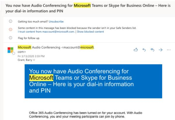 Screenshot of example email confirmation from Microsoft Audio Conferencing