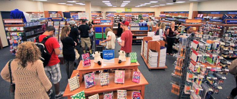 Students look through the bookstore for a book to read