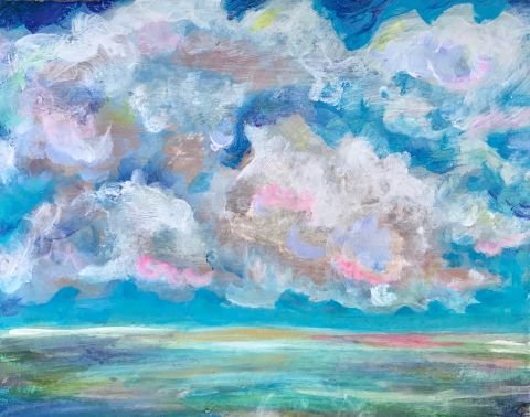 Acrylic painting of a dark blue sky covered by thick clouds
